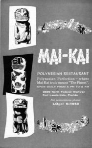A vintage Mai-Kai ad featuring the three cannibals.