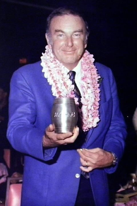 Founding co-owner Bob Thornton shows off the 25th anniversary silver Rum Barrel in 1981. (Mai-Kai photo)