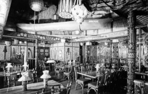 A photo of the Tahiti Room shortly after it was added in a 1971 expansion. The outrigger canoe that Bob and Mireille Thornton used on their honeymoon in Tahiti was later moved to the Moorea dining room. (Photo from Mai-Kai: History and Mystery of the Iconic Tiki Restaurant)