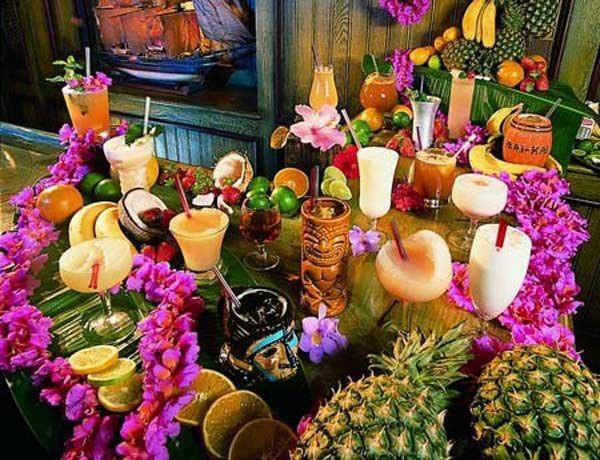 A vintage Mai-Kai photo of cocktails in The Molokai bar