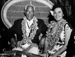 Pualani Mossman Avon entertains Hawaiian surfing pioneer Duke Kahanamoku at The Mai-Kai in 1961. (Photo from Mai-Kai: History and Mystery of the Iconic Tiki Restaurant)