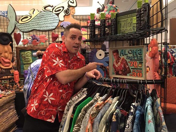 While villager Barron Elam hunts for a new aloha shirt, he's met with in image that bears a striking resemblance. (Photo provided by Barron Elam)