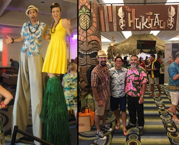 Disney World cast members Mike Pastore and Laura Cooper are an unusual sight when you enter the Tiki Treasures Bazaar. Meanwhile, villager Jose Villasana stops for a photo with some of his favorite artists: Crazy Al Evans (left) and Tiki Diablo. (Left photo by The Atomic Grog, right photo provided by Jose Villasana)