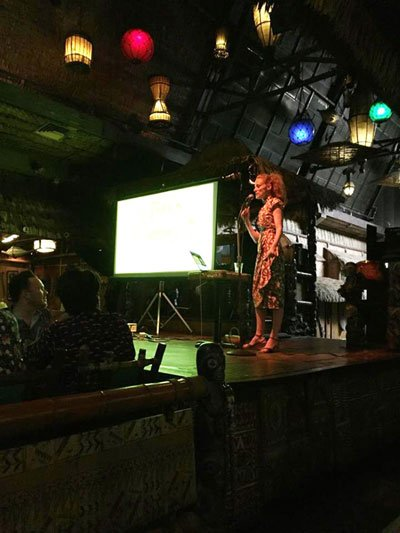 Humuhumu takes the stage at The Mai-Kai for a sold-out symposium for industry professionals. Her talk, which she presents to much acclaim at events large and small, is designed to introduce bartenders to the wider scope of Tiki, with an emphasis on Polynesian Pop culture. (Photo by James McDonald)