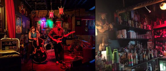 Bassist Kristi Lÿnx and guitarist Slip Mahoney play rockabilly classics and originals, while the Kreepy Tiki bar was well-stocked for The Hukilau late-night partiers. (Left photo by Barron Elam, right photo by Barb Lawrence)