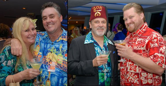 The Mai-Kai's Pia Dahlquist (with Drew Daley), is among the many villagers enjoying the Shag party. (Photos by Go11Events.com)