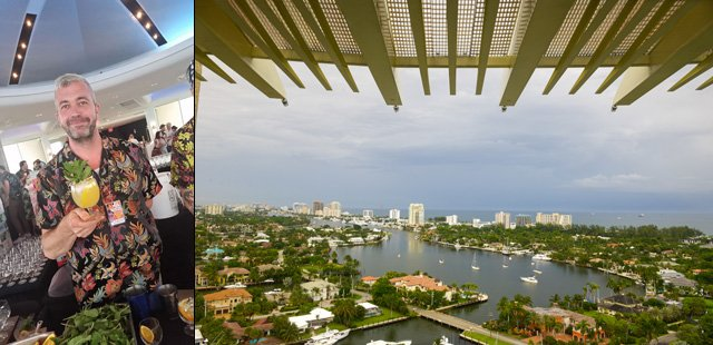 St. John Frizell of Fort Defiance in Brooklyn serves up a White Zombie, while the Pier Top Ballroom serves up great views of Fort Lauderdale Beach. (Left photo by The Atomic Grog, right photo by Go11Events.com)