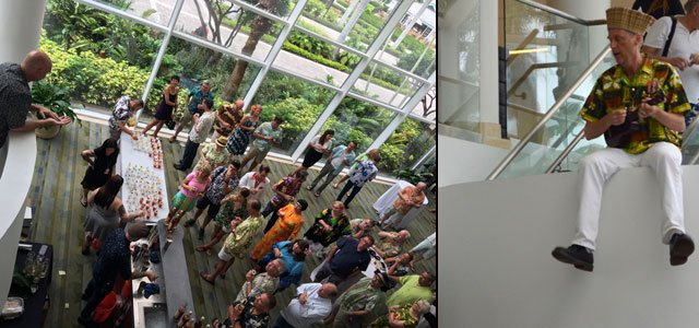 As the crowd gathers on the ground floor of Pier 66 to await the elevator ride to the 17th floor ballroom, King Kululele serenades them from above. (Left photo by Jose Villasana, right photo by Kevin Upthegrove)