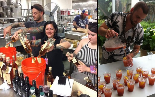 Ayme Harrison and her Kreepy Tiki crew prep the Heathen cocktail, which they served in the hotel's Windows on the Green. (Right photo by Hurricane Hayward of The Atomic Grog, left photo provided by Ayme Harrison)