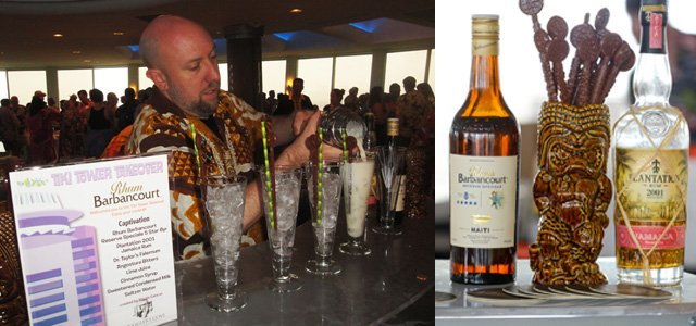 Martin Cate pours his Captivation cocktail, which features two distinctive rums. (Left photo by The Atomic Grog, right photo by Go11Events.com)