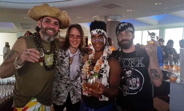 The Tiki Mondays With Miller crew (from left): Capt. Brian Miller, Garret Richard, Jelani Jah Edwards-Jöhnson, Ryan Liloia. (Photo by The Atomic Grog)