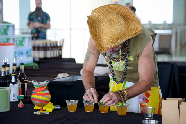 Brian Miller (Tiki Mondays With Miller) is hard at work preparing the Funky Derelict. (Photo by Go11Events.com)