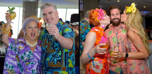 Rum expert Joe Desmond enjoys a cocktail with Jeanne Beauregard Vidrine (left). Meanwhile, wife Nicole Desmond (right photo, left) helps create another colorful photo op. (Photos by Go11Events.com)