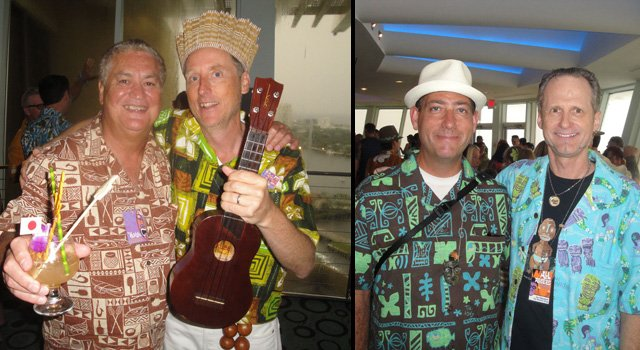 A good time was had by all: Mai-Kai owner Dave Levy (left) with King Kululele. And  5 Minutes of Rum podcaster Kevin Upthgrove with Hurricane Hayward (right). (Photos by The Atomic Grog)
