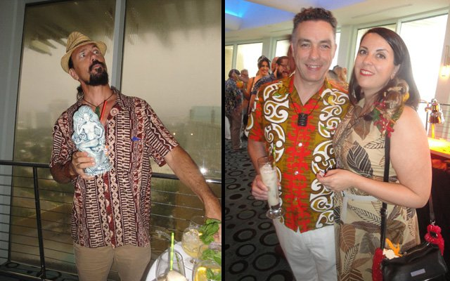 "Among the many VIPs in attendance were artist Crazy Al Evans (left), plus author Tim ""Swanky"" Glazner (Mai-Kai: History and Mystery of the Iconic Tiki Restaurant) and wife Stephanie Romer. (Photos by The Atomic Grog)"