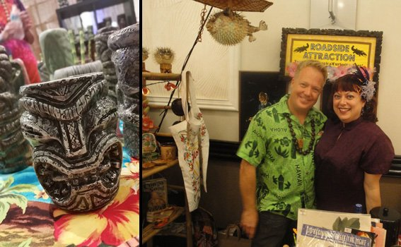 Mugs from Pie Eyed Tikis are featured at a special booth, while David and Carol Cortright offer a variety of retro goods from their Roadside Attraction store in Dunedin, Fla. (Photos by The Atomic Grog)