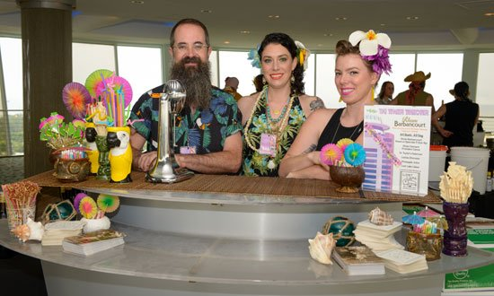 Lost Lake's Paul McGee, Shelby Allison and Erin Hayes at the Tiki Tower Takeover at The Hukilau 2016 in Fort Lauderdale. (Photo by Go11Events.com)