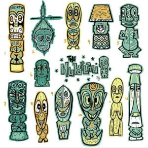 Proposed mug designs by Tiki Tony for The Hukilau.