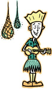 King Kukulele is back for a 16th year as The Hukilau's emcee. (Artwork by Tiki Tony)