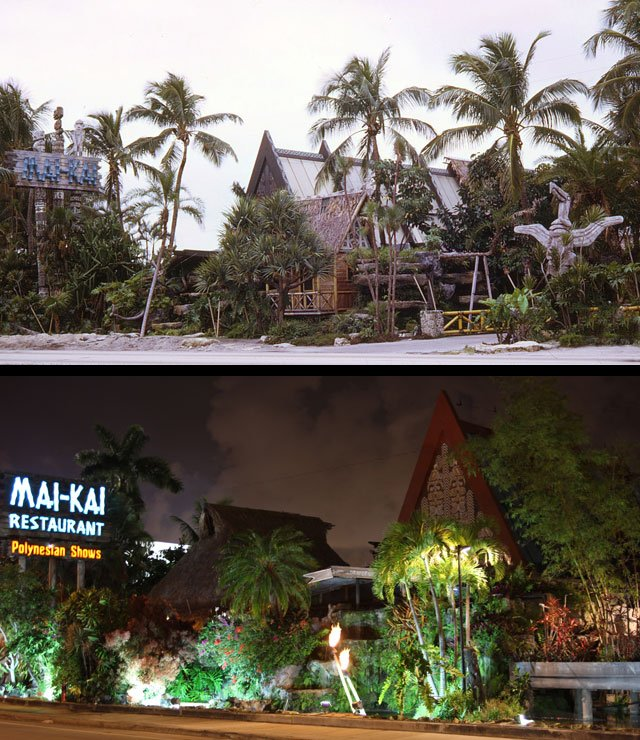 "A view from Federal Highway of The Mai-Kai in 1969 and today. (Photos from Tim ""Swanky"" Glazner  / <em>Mai-Kai: History and Mystery of the Iconic Tiki Restaurant</em>)"