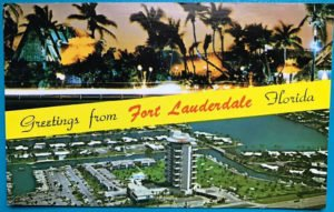 A vintage postcard showing both The Mai-Kai and the Pier 66 hotel, iconic establishments that opened in 1956.