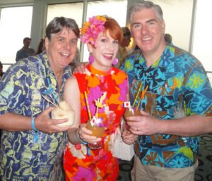 Rum Renaissance Festival producer Robert A. Burr enjoys the Tiki Tower Takeover at The Hukilau in June 2016 with RumXP tasting panel members Nicole and Joe Desmond of New York City. (Atomic Grog photo)