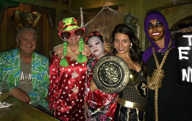 """Mr. Hukilau"" Dave Levy (Mai-Kai owner) and kooky clown Pia Dahlquist (Mai-Kai marketing director) are joined by a geisha (Mai-Kai entertainer Rose Marie), Xena Princess Warrior JoJo and a mysterious masked hangman."