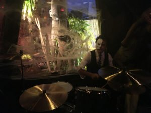 Drummer Dominick Daniels performs at his first Hulaween with the Spinouts.