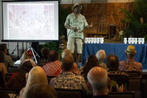 Global rum ambassador Ian Burrell, founder of the UK Rumfest, presents a symposium at The Hukilau in June 2017. (Atomic Grog photo)