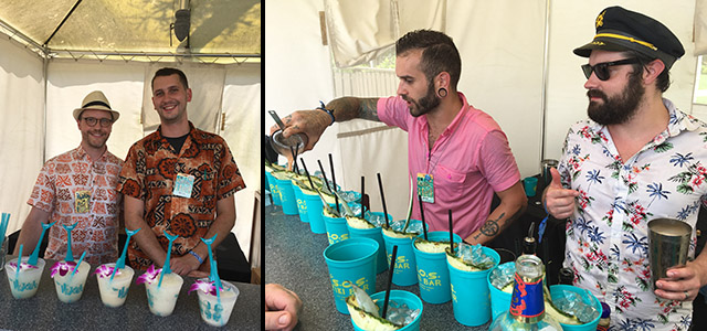 Bar teams from Pittsburgh's Hidden Harbor (left) and Atlanta's S.O.S. Tiki Bar will return for this year's expanded Rum Island Pool Party at The Hukilau 2018. (Atomic Grog photos)