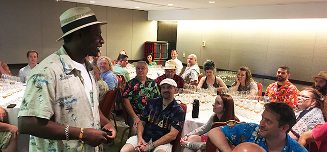Ian Burrell leads a rum tasting at The Hukilau in June 2017. (Atomic Grog photo)