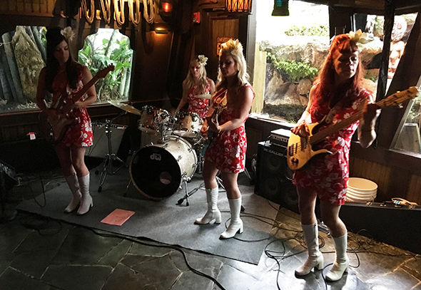 The Surfrajettes perform in The Molokai bar at The Mai-Kai during The Hukilau in June 2017. (Atomic Grog photo)