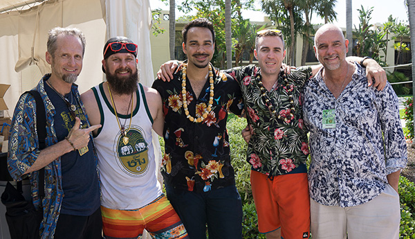Hurricane Hayward (left) with The Hukilau head honcho Richard Oneslager (right) and the bar team from Chicago's Three Dots and a Dash. (Atomic Grog photo)