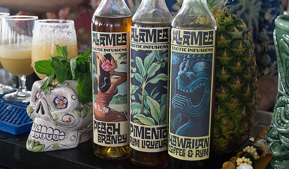 "Daniele Dalla Pola has his own signature line of ""exotic infusions"" under the Alamea brand, as seen (and sampled) at the 2017 Tiki Tower Takeover. (Atomic Grog photo)"