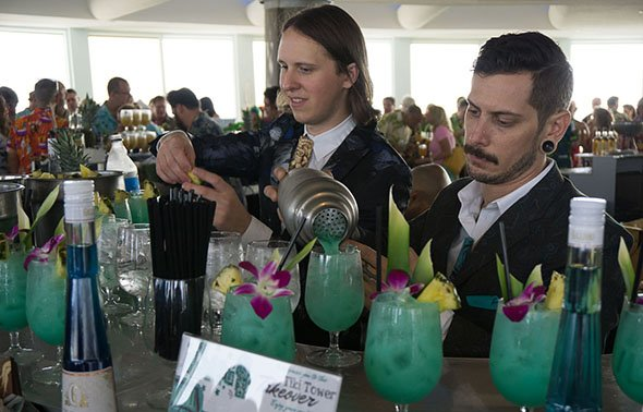 Pacific Ocean Blue from Garret Richard (left) of Slowly Shirley featured Plantation 3 Stars</a> rum, vodka, Galliano, blue curacao, lime cordial, coconut mix, Demerara syrup, plus pineapple and lemon juices. (Atomic Grog photo)