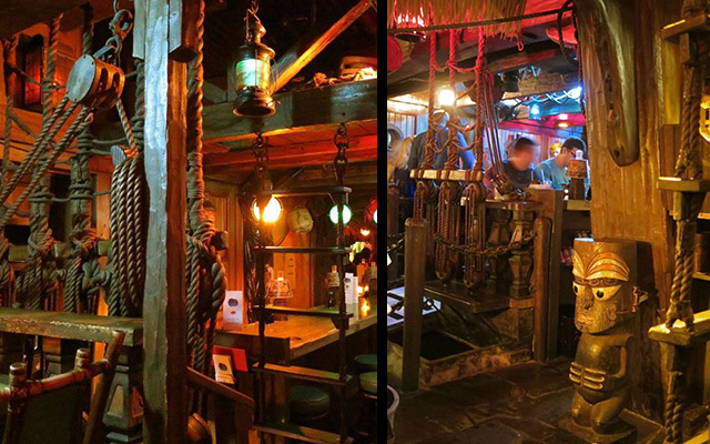 The Molokai bar, added during a 1971 expansion of The Mai-Kai, includes props and set pieces from the classic 1962 movie Mutiny on the Bounty. (Photos by Sven Kirsten, December 2016)