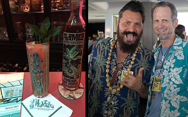 Right: Daniele Dalla Pola and Hurricane Hayward meet at the Tiki Tower Takeover in June 2017 at The Hukilau. Left: Dalla Pola's Nu Nui Nui is re-created in The Atomic Grog, January 2018. (Atomic Grog photos)