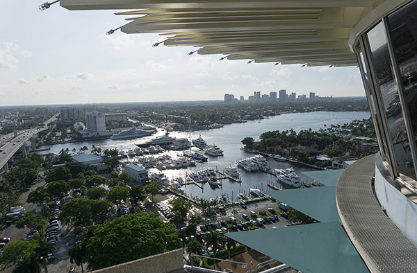 The view looking west from the observation deck on the 17th floor Pier Top Ballroom at the Pier Sixty-Six Hotel & Marina during The Hukilau 2017. Downtown Fort Lauderdale can be seen in the distance. (Atomic Grog photo)