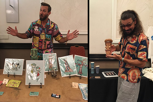 Tiki Tony (left) and Crazy Al Evans show off their swag in the Tiki Treasures Bazaar during The Hukilau 2017. (Atomic Grog photos)