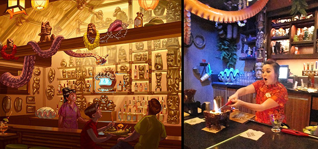 An artist's rendering of Trader Sam's Grog Grotto at Disney World from Walt Disney Imagineering, and a photo from the grand opening in March 2015 (Atomic Grog photo)