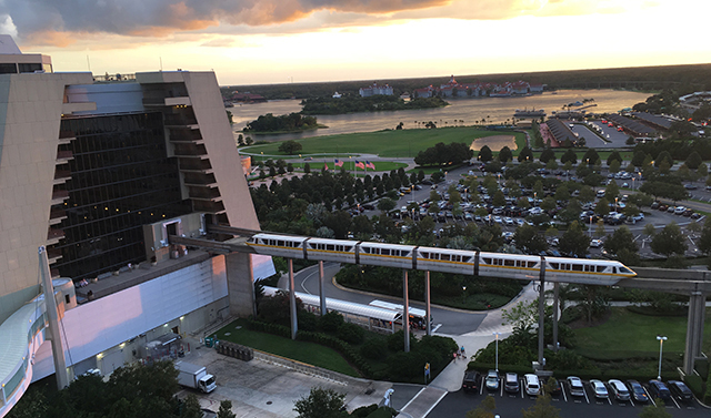 The monorail emerges from the Contemporary Resort on its way to the Magic Kingdom at Walt Disney World in July 2016. (Photo by Hurricane Hayward)