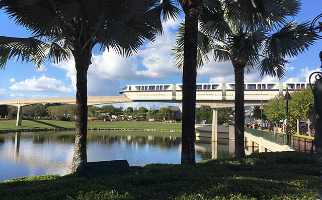 A monorail train winds through Epcot at Walt Disney World in November 2016. (Photo by Hurricane Hayward)