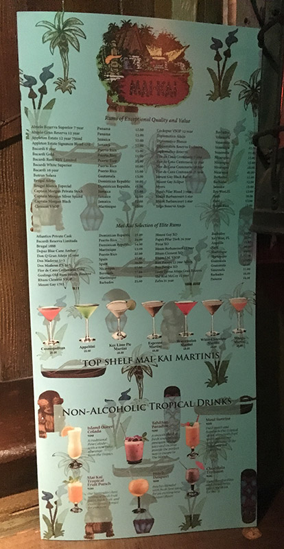 The 2018 cocktail menu at The Mai-Kai