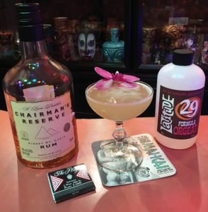 Atomic Mai Tai Cocktail featuring Chairman's Reserve Original rum and Latitude 29 Formula Orgeat. Matchbook from the old Trader Vic's at the Plaza Hotel in New York City. (Photo by Hurricane Hayward, September 2018)