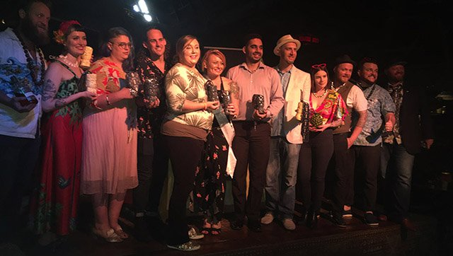 The 12 finalists from the Eastern United States gather on stage at The Mai-Kai before the winners were announced. (Atomic Grog photo)