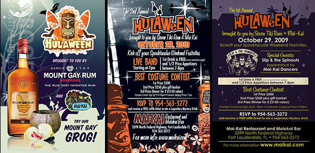 Hulaween posters: 2011, 2010 and 2009