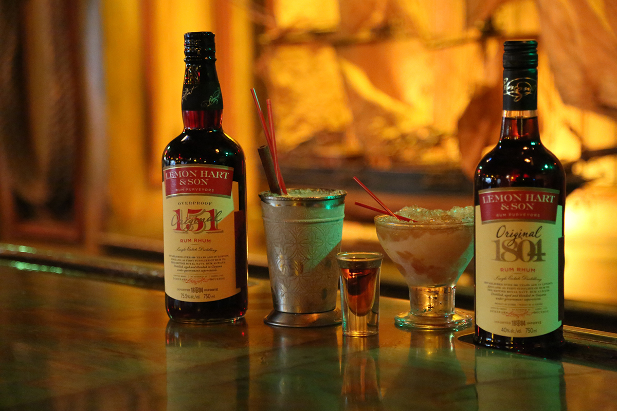 Lemon Hart rum was featured in two classic cocktails: The 151 Swizzle and Demerara Float