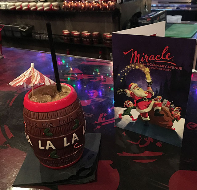 Christmas Carol Barrel at Miracle on Rosemary. (Atomic Grog photo, December 2018)