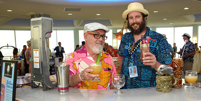 Guest bartenders at Thursday's Tiki Tower Takeover included cocktail legend Brother Cleve (left) and Doc Parks of Pagan Idol and Zombie Village. (Photo by Heather McKean)