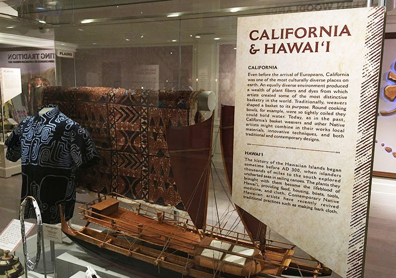 The Hawaii and California display spotlights one of seven geographic regions of Native American art, both historical and modern, in the American Heritage Gallery at Epcot. (Photo by Hurricane Hayward)
